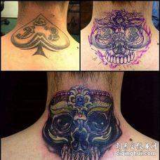 新传统后颈嘎巴拉纹身图案