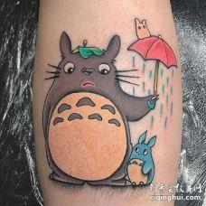 New School小腿龙猫纹身图案