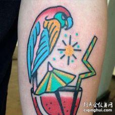 Old School小臂鹦鹉西瓜汁纹身图案