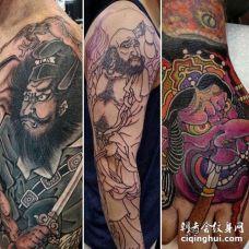 日式大臂钟馗鲁智深纹身图案