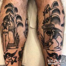 Old School小腿天使纹身图案