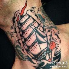Old School脖子帆船纹身图案