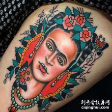Old School大臂女人玫瑰纹身图案