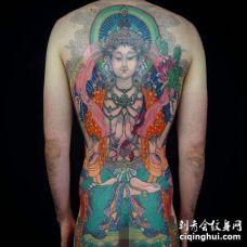 新传统后背菩萨纹身图案