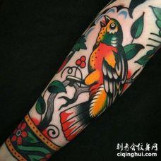 Old School小臂鹦鹉纹身图案