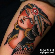 Old School小腿女人纹身图案