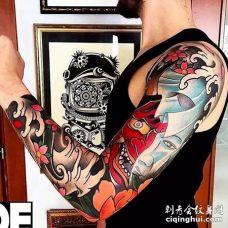 日式胳膊般若纹身图案