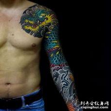 日式胳膊龙纹身图案