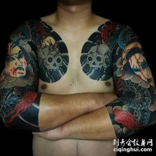 日式胳膊前胸武士骷髅纹身图案