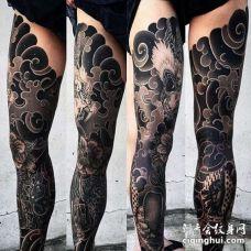 日式腿龙牡丹纹身图案
