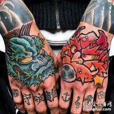 日式手背风神雷神纹身图案