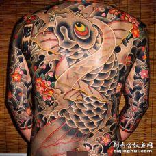日式后背鲤鱼纹身图案