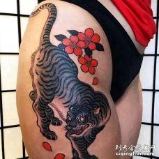 日式大腿老虎纹身图案