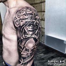 新传统大臂武士般若纹身图案