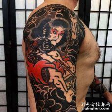 日式大臂武士纹身图案