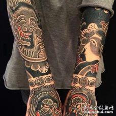 日式胳膊手背夜叉纹身图案
