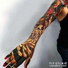 日式小臂菊花骷髅纹身图案