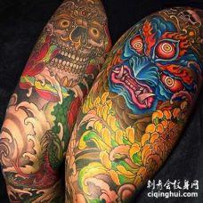 日式大腿嘎巴拉不动明王纹身图案