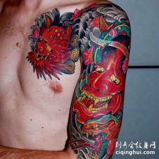 日式大臂般若蛇纹身图案