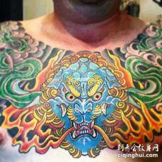 日式前胸唐狮纹身图案