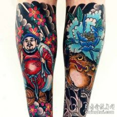 日式小腿财神青蛙纹身图案