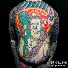 日式后背不动明王龙纹身图案