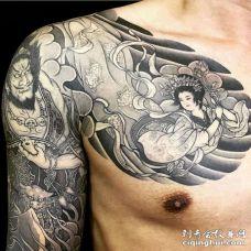 日式大臂钟馗纹身图案