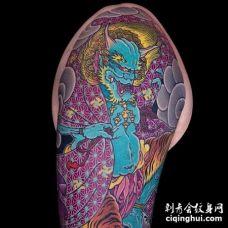 新传统大臂雷神老虎纹身图案