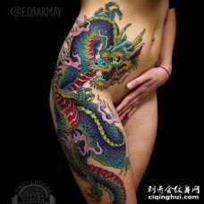 新传统侧腰凤凰纹身图案