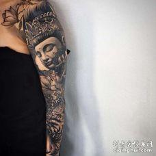 日式胳膊佛老虎纹身图案