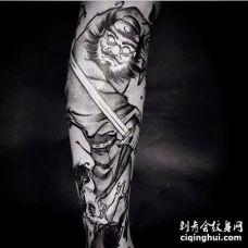 新传统小腿钟馗纹身图案