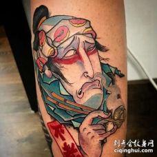 日式小腿武士纹身图案
