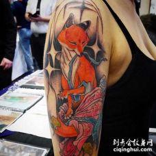 新传统大臂狐狸纹身图案