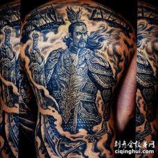 新传统后背二郎神纹身图案
