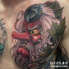 新传统前胸天狗纹身图案