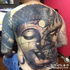 新传统后背魔佛纹身图案