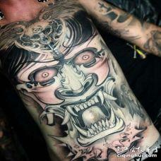 新传统腹部般若纹身图案