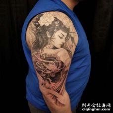 新传统大臂艺伎龙纹身图案