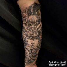 新传统小臂女武士纹身图案