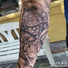 新传统小臂风神纹身图案