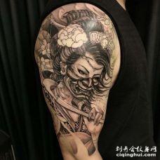 新传统大臂艺伎纹身图案