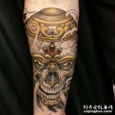新传统小臂嘎巴拉纹身图案