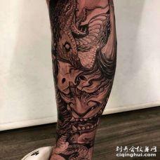 新传统小腿般若纹身图案