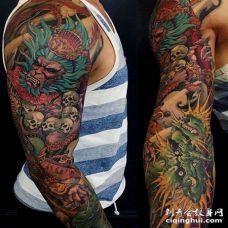 新传统胳膊孙悟空龙纹身图案