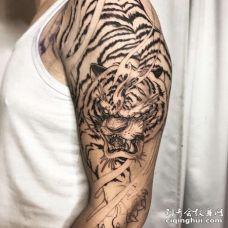 新传统大臂老虎纹身图案