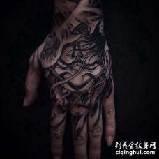 新传统手背般若纹身图案