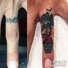 Old School手指椰子树纹身图案