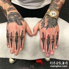 Old School手指匕首纹身图案