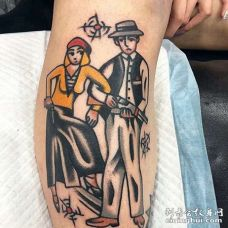 Old School小腿里昂纹身图案