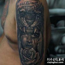 大臂外侧写实黑灰人像与虎